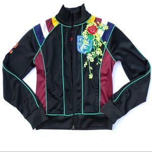 Johnny Was Royal Rose Embroidered Track Jacket